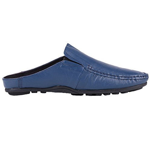 Santimon Pantofole Muli Clog Uomo Classico In Pelle Comoda Slip On Scarpe Mocassini Casual Darkblue