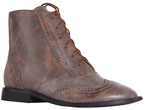 Ankle Shoes On Low Womens Brown 13 Booties Chelsea Size Style Boots Pixie Leather Flat Faux Heel Ladies Pull p70nPn