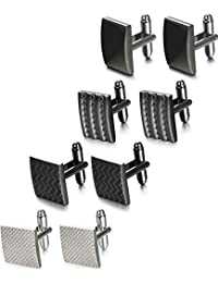 Thunaraz 4 Pairs Wedding Business Classic Cufflinks for Men Unique Cufflink Set Mens