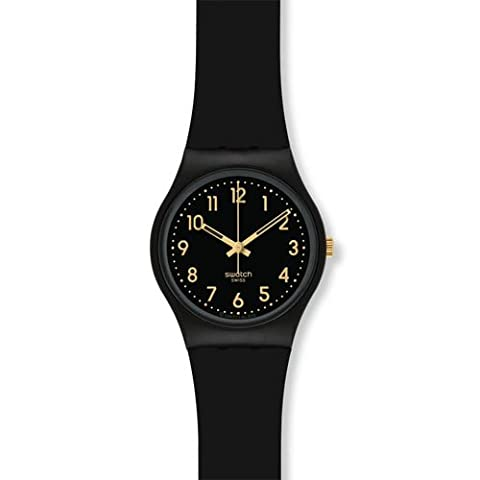 Swatch GB274 Golden Tac Black Gold Analog Dial Silicone Strap Unisex Watch NEW (Sport Swatch Men)