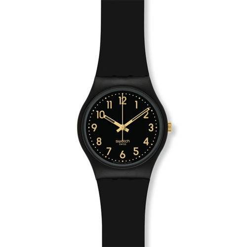 Swatch GB274 Golden Tac Black Gold Analog Dial Silicone Stra
