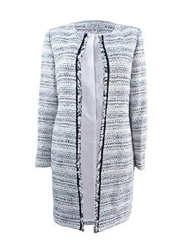 Tahari ASL Womens Petites Tweed Fringe Trim Open-Front Blazer Blue 6P