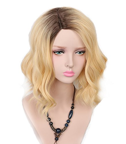 Yuehong Cosplay Blonde Wig Dark Roots Natural Hairline Synthetic Wig Heat Resistant Sexy short Blonde Wavy (Best Synthetic Wigs)