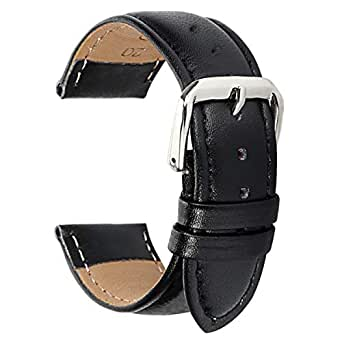 Fahion Black Leather Watch Band Braclet 12mm Watch Strap Replacement for Womens