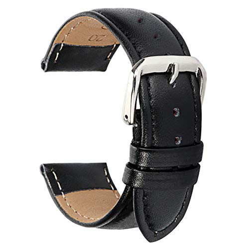 (Fahion Black Leather Watch Band 15mm Watch Band Leather Braclet 15mm Watch Strap Replacement for Womens)