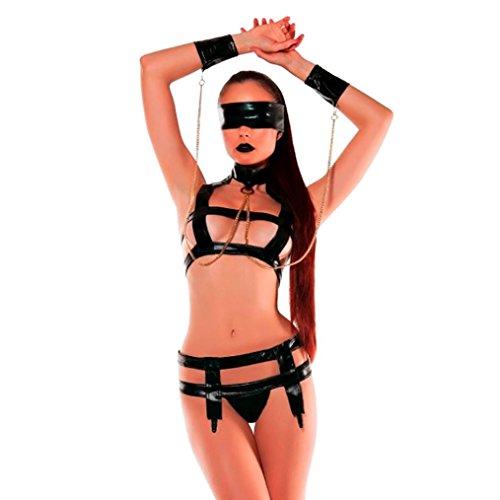 OverDose Conjuntos de lenceria Mujer Seductive Venda de Cuero tentacion tamano Libre (S/M, Busto 84-98cm)
