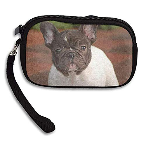 LHQ's White Chocolate French Bulldog Puppies Zipper Change Purse Coin Wallet Card Holder With Key Ring Wristlet Portable Pouch ()