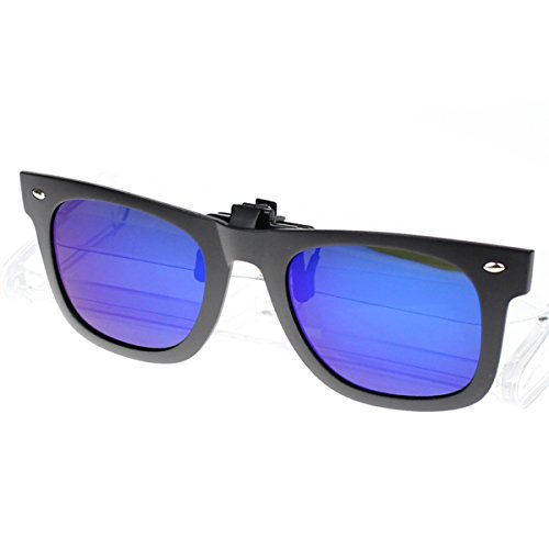 JAKY Womens/Mens Reflective Lens Spring Metal Clip on Flip up Wayfarer Polarized Sunglasses(Black Frame Blue - Sunglasses Wayfarer Clip On