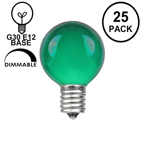 Novelty Lights 25 Pack G30 Outdoor Globe Replacement Bulbs, Green, C7/E12 Candelabra Base, 5 Watt
