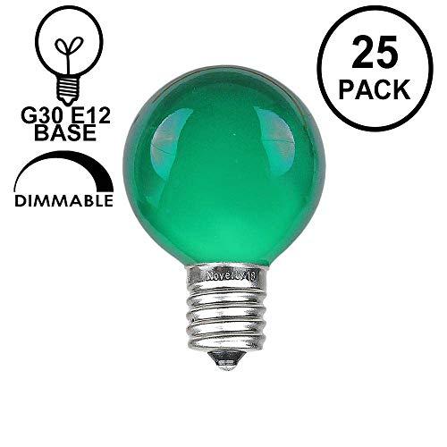 Novelty Lights 25 Pack G30 Outdoor Globe Replacement Bulbs, Green, C7/E12 Candelabra Base, 5 Watt