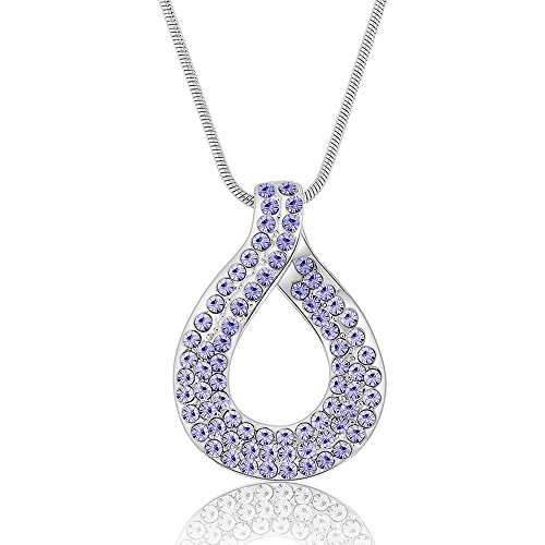 Bollywood Queen Adult Costumes (The Starry Night Purple Austrian Crystal Love Heart Knot Silver Necklace Fashion Diamond Accented Pendant)