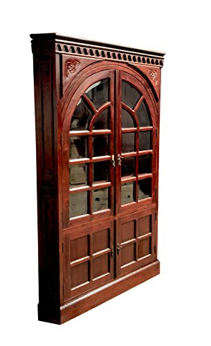 rustic bookcase with glass doors - 3