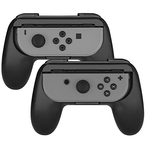 Nintendo Switch Joy-Con Grip, SabHill 2 Packs Wear-resistant Joy-Con Handle Controller Hand Grips for Nintendo Switch (Black)