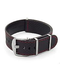 DASSARI Stealth Carbon Fiber NATO G10 Zulu Black w/ Red Stitching Leather Watch Strap 22mm