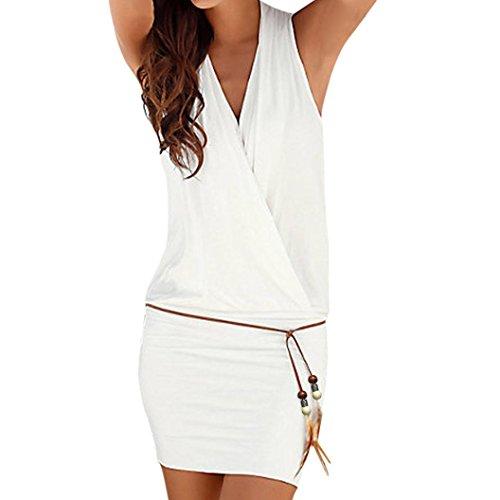 Guesspower Femme Robe Plage Chic Sexy t Dames V Cou Dcontract sans Manches Rtro Parti Plage Mini Robe Plage Sun Dress Blanc Noir S-XXL(36-44) Blanc