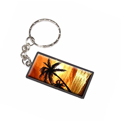 Graphics and More Palm Trees and Sunset Orange - Beach Tropical Ocean Keychain Key Chain Ring