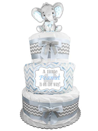 (Elephant 3-Tier Diaper Cake - Boy Baby Shower Gift - Blue and)