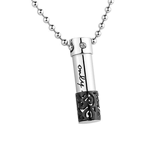 Cremation jewelry for ashes amazon hooami stainless steel only love perfume bottle urn pendant necklace memorial ash keepsake cremation jewelry black aloadofball Gallery
