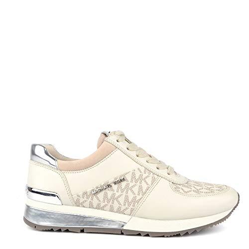 (Michael Michael Kors Women's Allie Trainer Vanilla Suprema Nappa Sport/Mini MK Logo PVC/Sport Suede Sneaker 9)