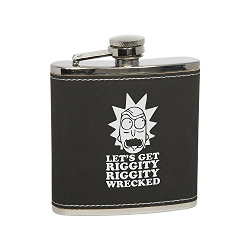Stainless Steel Hip Flask & Funnel Set with Funny Rick & Morty Quote - 6 Oz. Black Leatherette Silver Engraving