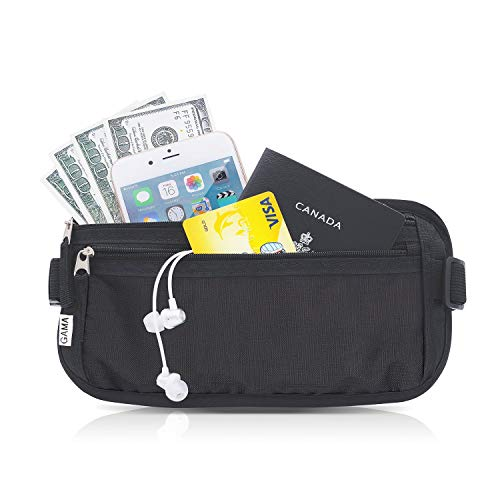 Money Belt for Travel, by Gama - RFID Blocking Fanny Pack, Hidden Passport Holder for Men Women - Keep Slim & Under Clothes to Prevent Pick Pocketers - Black Wallet fit Money, Credit Cards, Phone by Gama