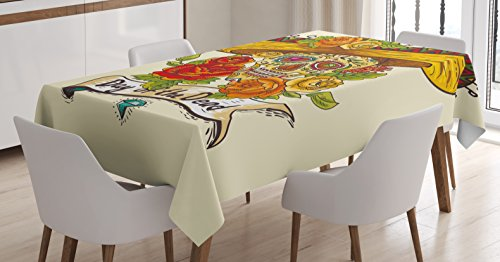Sugar Skull Decor Tablecloth by Ambesonne, Skull in Sombrero Traditional Mexican Culture Theme Roses Day of the Dead, Dining Room Kitchen Rectangular Table Cover, 60 W X 90 L Inches, Multicolor - Day Of The Dead Clothes Ideas
