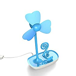 NAMEO DIY USB Fan with Mobile Phone holder, USB or Battery Powered Desktop Mini Cooling Fan with Bracket (Blue)