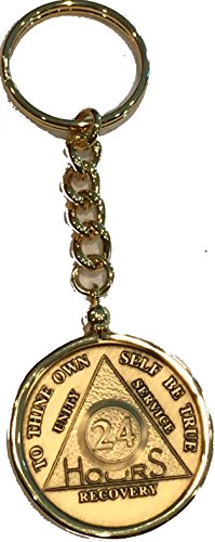 24 Hours AA Serenity Prayer Medallion Keychain Chip Holder Gold Plated