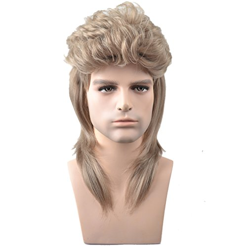 Blonde Disco Costumes Wig (RightOn 16'' New Stylish Men's Mullet Wig Costume Disco Party Synthetic Wigs Hairnet Included (Blonde))