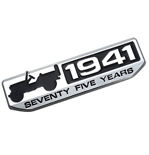 EmbRoom 75 Year 1941 Anniversary Metal Emblem Badge Nameplate Car Sticker Decal Replacement for Jeep Wrangler Cherokee 2016 Patriot Compass (Chrome)
