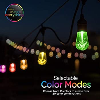 Enbrighten Seasons LED Warm White & Color Changing Café String Lights with Stainless Steel Lens Shade, Black, 24ft, 12 Impact Resistant Lifetime Bulbs, Wireless, Weatherproof, Indoor/Outdoor, 43382