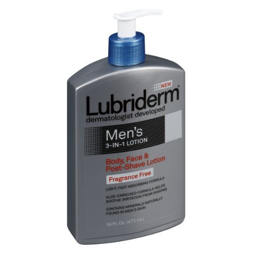Lubriderm Mens 3in1 Body/Face/After-Shave Lotion Fragrance Free 16 oz.