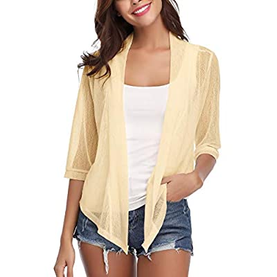 Sykooria Women's Tie Front Sheer Cardigan Lightweight 3/4 Sleeve Girls Cropped Bolero Dress Shrugs S-XXL at Women's Clothing store