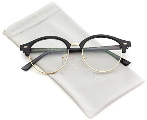 Cateyes Vintage Retro Clear Semi-Rimless Round Clear Lens Cat-Eye - Eyeglasses Rimless Cateye