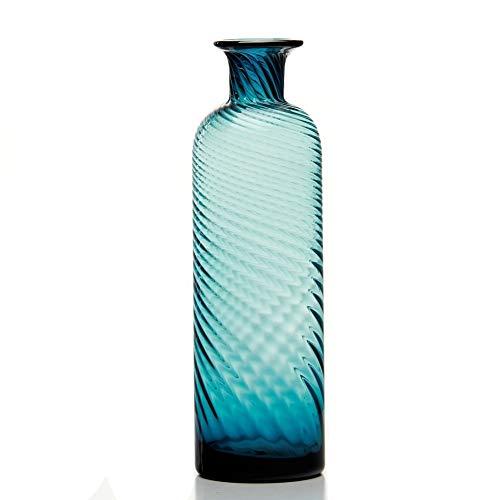 Sunkey Flower Vase Hand Blown Glass Vase Elegant Narrow Neck Large Bud Vase for Centerpiece Home Office Wedding Decor Navy Blue, 11.5 Inch