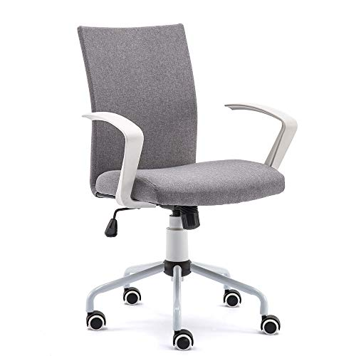DJ Wang Grey Modern Desk Comfort White Swivel Fabric Home Office Task Chair with Arms and Adjustable Height, Suitable for Computer Working and Meeting and Reception Plac, Overall D5W21.25H89-99cm