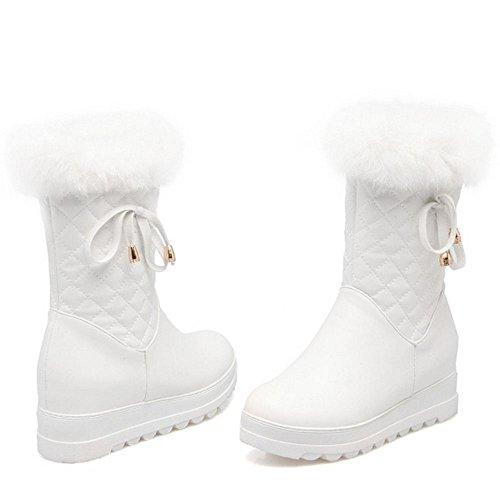 COOLCEPT Damen Stiefel Zipper Warm Gefuttert White