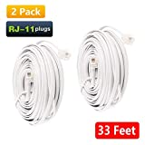 Uvital 33 Feet Telephone Landline Extension Cord Cable Line Wire with Standard RJ-11 6P4C Plugs(White 10M,2 Pack)