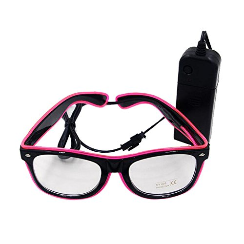 Ake EL Wire Glasses LED Fluorescent Flash Sunglasses Eyeglasses Voice Control for Ballroom Bar Party