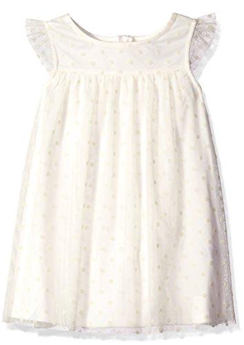Flocked Dot Dress (Nautica Little Girls Tulle Dress With Flocked Dot, Cream, 6)