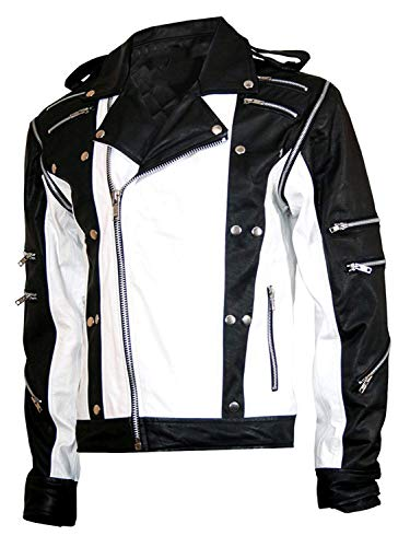 (UGFashions Michael Jackson Pepsi Ad Retro Vintage Biker Black & White Multi-Zipped Leather Motorcycle Jacket)