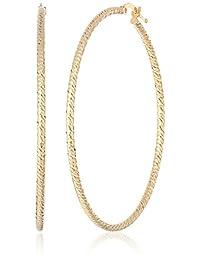 14k Italian Textured Hoop Earrings