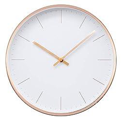 Comodo Casa Metal Wall Clock-Rose Gold Frame-Glass Cover-Non Ticking-Quartz Sweep-Silent 12 inch Design Clocks,Rosegold