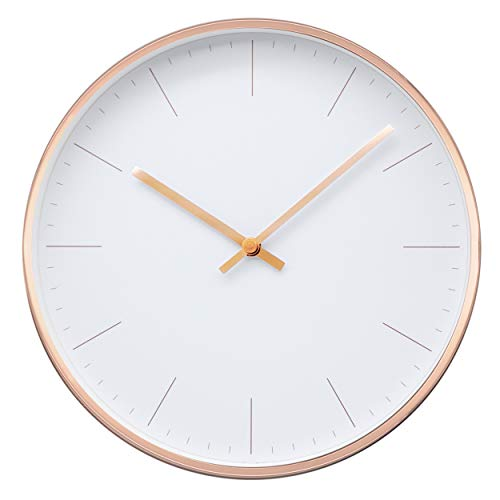 Comodo Casa Metal Wall Clock-Rose Gold Frame-Glass Cover-Non...