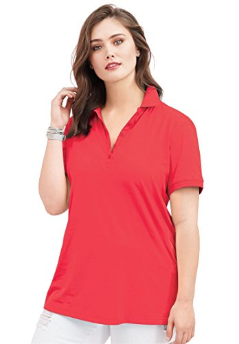 Roamans Ultimate Tee Women's Plus Size Short Sleeve Polo Ultimate Tee Coral Red,4X Cap Sleeve Knit Polo Top