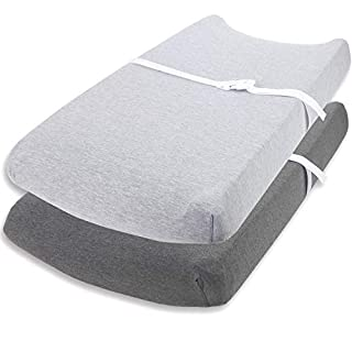 """Cuddly Cubs Changing Pad Covers – 2 Pack – Snuggly Soft Plush Cotton Changing Table Covers for Boy, Girl – Fits Perfectly on Summer Infant and Other 16 x 32"""" Baby Changing Table Pads – Heather Grey"""