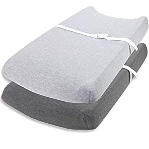Changing Pad Cover Set by Cuddly Cubs | Ultra Soft Jersey Cotton Changing Table Cover Cradle Sheets 16×32 inches for Baby Girl and Boy | 2 Pack Heather Grey Change Table Sheets