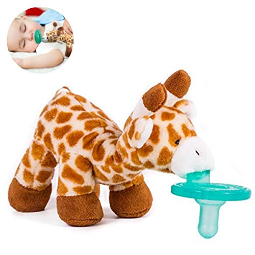 Pacifier Animal Holder - Stuffed Giraffe Soothie Paci by The Hamptons Baby - Plush Binky Toy with Attached Pacifier - Baby Animal Pacifier, BPA-Free Silicone, Unisex for Boys & Girls ()