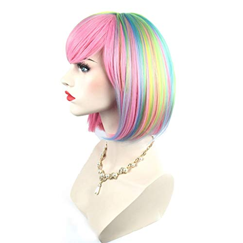 Wig Pink Short Hair Colorful Synthetic Fashion Rainbow Women Ladies Cosplay Halloween Party, 32-34cm ()