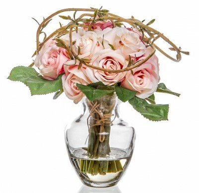 Pink and cream roses in glass vase with still water artificial pink and cream roses in glass vase with still water artificial silk flowers 18 mightylinksfo